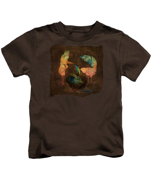 Feathering Their Nest Kids T-Shirt by Terry Fleckney