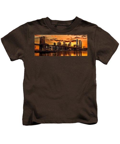 Fiery Sunset Over Manhattan  Kids T-Shirt by Az Jackson