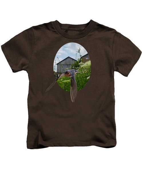 Flying Through The Farm Kids T-Shirt by Jan M Holden