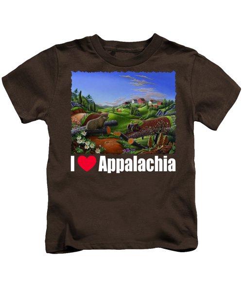 I Love Appalachia T Shirt - Spring Groundhog - Country Farm Landscape Kids T-Shirt by Walt Curlee