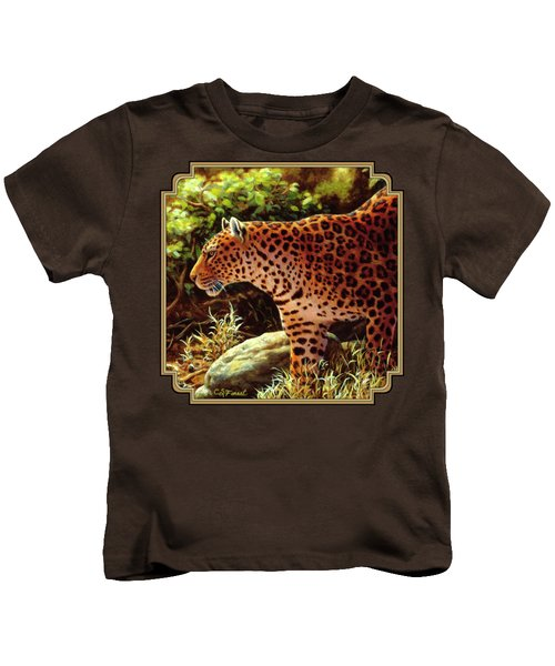 Leopard Painting - On The Prowl Kids T-Shirt by Crista Forest