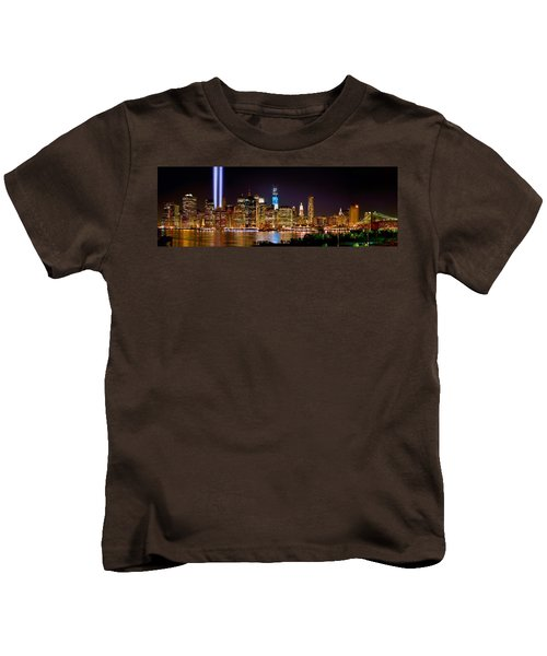 New York City Tribute In Lights And Lower Manhattan At Night Nyc Kids T-Shirt by Jon Holiday
