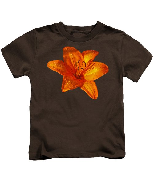 Orange Lily In Sunshine After The Rain Kids T-Shirt by Gill Billington