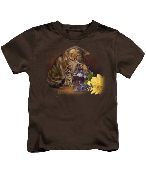Paw In The Vase Kids T-Shirt by Lucie Bilodeau