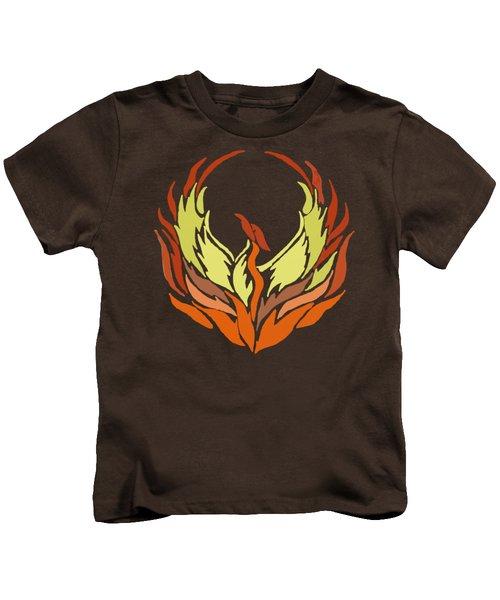 Phoenix Bird Kids T-Shirt by Priscilla Wolfe