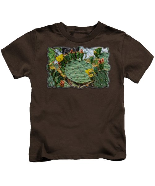 Prickly Pear Flowers Op46 Kids T-Shirt by Mark Myhaver