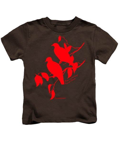Red Doves Kids T-Shirt by The one eyed Raven