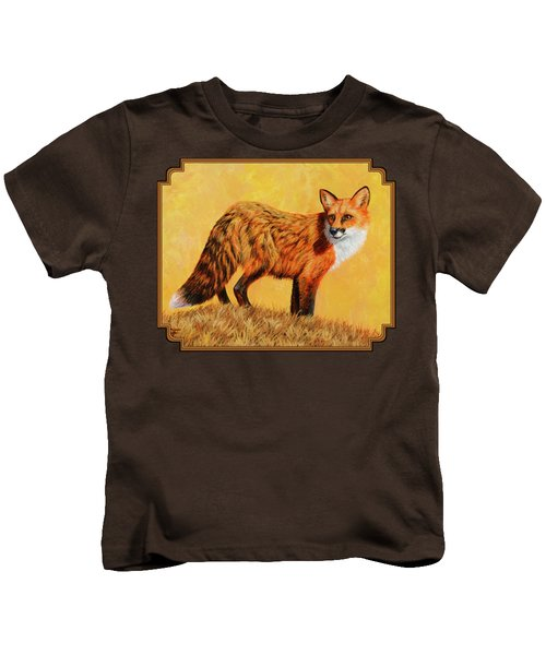 Red Fox Painting - Looking Back Kids T-Shirt by Crista Forest