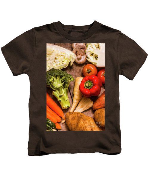 Selection Of Fresh Vegetables On A Rustic Table Kids T-Shirt by Jorgo Photography - Wall Art Gallery