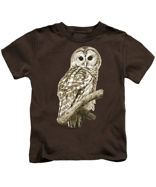 Sepia Owl Kids T-Shirt by Christina Rollo
