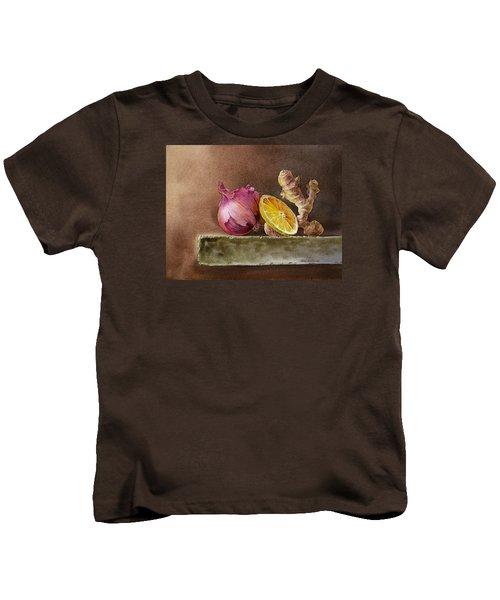 Still Life With Onion Lemon And Ginger Kids T-Shirt by Irina Sztukowski