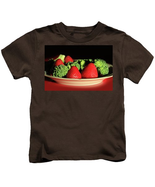 Strawberries And Broccoli Kids T-Shirt by Lori Deiter