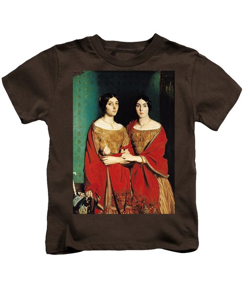The Two Sisters Kids T-Shirt by Theodore Chasseriau