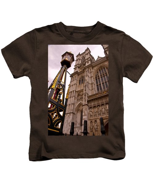 Westminster Abbey London England Kids T-Shirt by Jon Berghoff