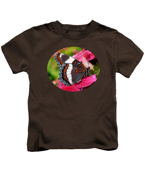 White Admiral Butterfly On Pink Flowers Kids T-Shirt by Christina Rollo