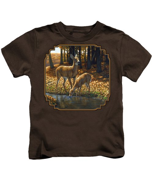 Whitetail Deer - Autumn Innocence 1 Kids T-Shirt by Crista Forest