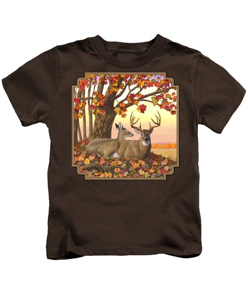 Whitetail Deer - Hilltop Retreat Kids T-Shirt by Crista Forest