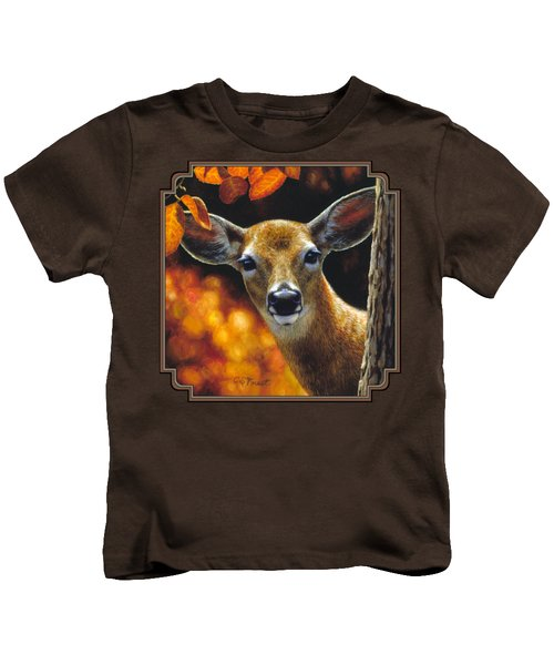 Whitetail Deer - Surprise Kids T-Shirt by Crista Forest