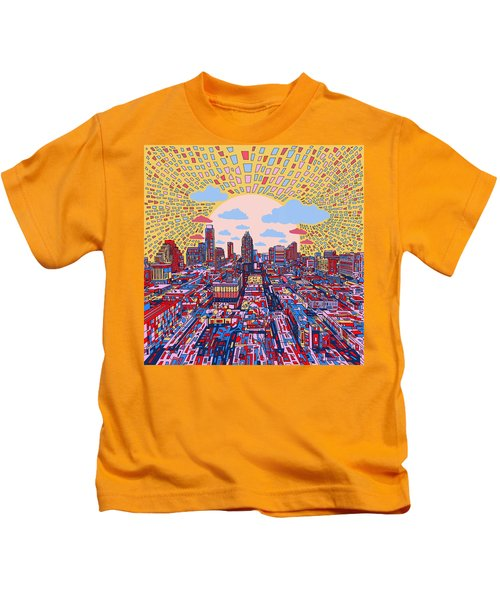 Austin Texas Abstract Panorama 2 Kids T-Shirt by Bekim Art