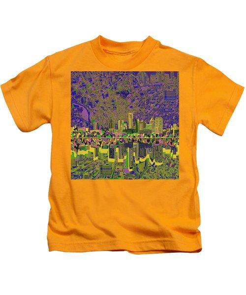 Austin Texas Skyline Kids T-Shirt by Bekim Art