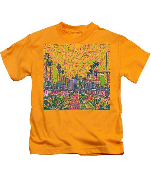 Los Angeles Skyline Abstract Kids T-Shirt by Bekim Art