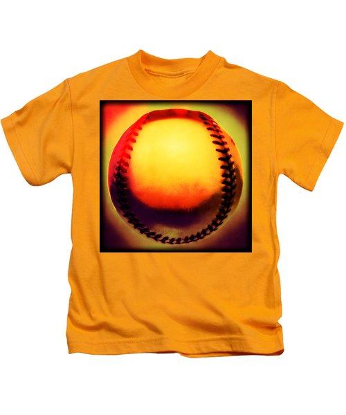 Red Hot Baseball Kids T-Shirt by Yo Pedro