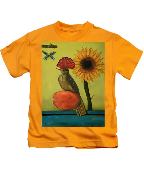 Royal Flycatcher  Kids T-Shirt by Leah Saulnier The Painting Maniac