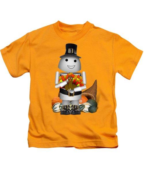Robo-x9 The Pilgrim Kids T-Shirt by Gravityx9 Designs
