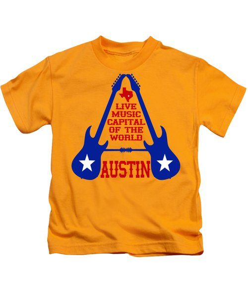Austin Live Music Capital Of The World Kids T-Shirt by David G Paul
