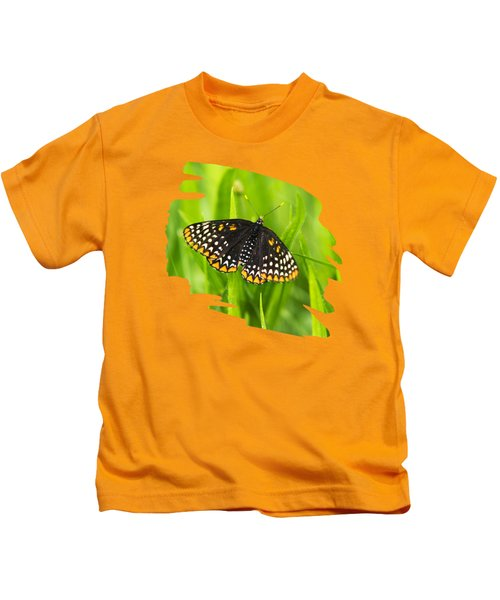 Baltimore Checkerspot Butterfly Kids T-Shirt by Christina Rollo
