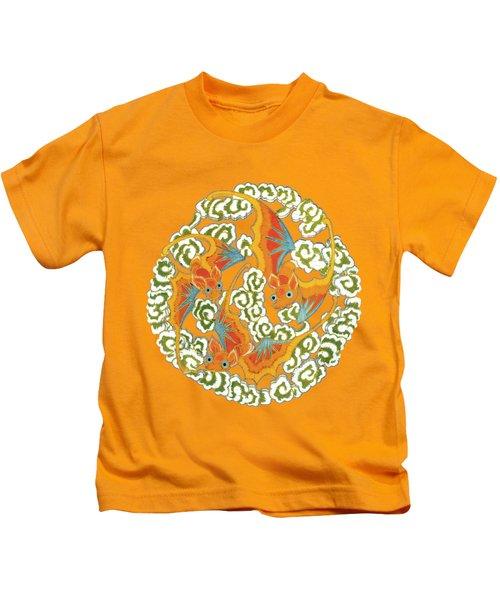 Chinese Bats Tee Shirt Design Kids T-Shirt by Bellesouth Studio