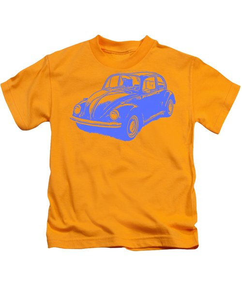 Classic Vw Beetle Tee Blue Ink Kids T-Shirt by Edward Fielding