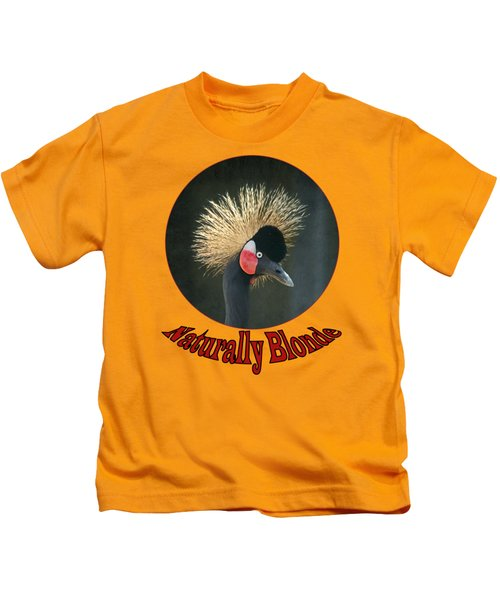Crowned Crane - Naturally Blonde - Transparent Kids T-Shirt by Nikolyn McDonald