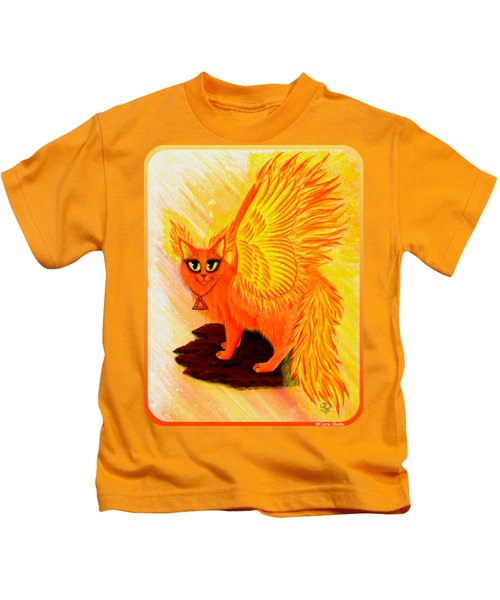 Elemental Fire Fairy Cat Kids T-Shirt by Carrie Hawks
