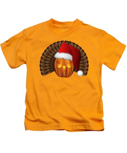 Hallowgivingmas Santa Turkey Pumpkin Kids T-Shirt by MM Anderson