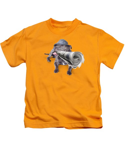Isolated Newspaper Dog Carrying Latest News Kids T-Shirt by Jorgo Photography - Wall Art Gallery
