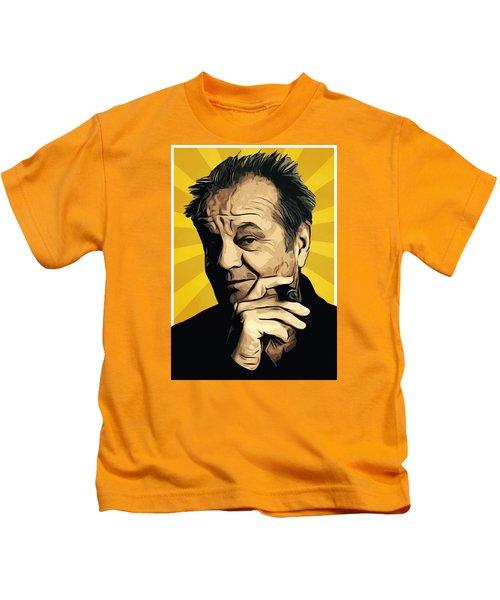 Jack Nicholson 3 Kids T-Shirt by Semih Yurdabak