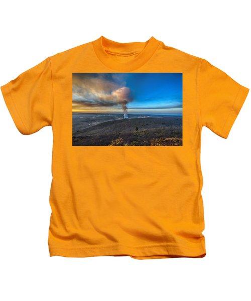 Kilauea Caldera Kids T-Shirt by Lynn Andrews