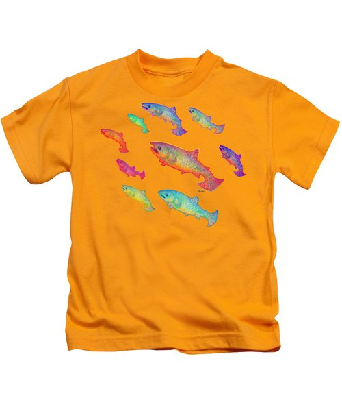 Leaping Salmon Design Kids T-Shirt by Teresa Ascone