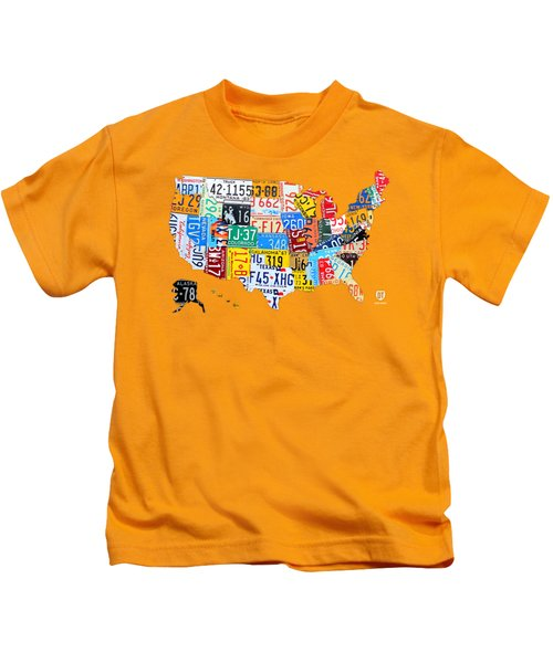 License Plate Art Map Of The United States On Yellow Board Kids T-Shirt by Design Turnpike