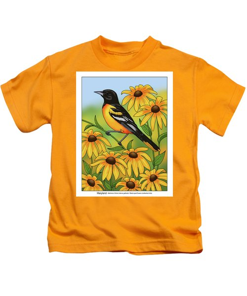 Maryland State Bird Oriole And Daisy Flower Kids T-Shirt by Crista Forest
