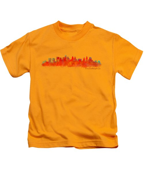 Philadelphia City Skyline Hq V2 Kids T-Shirt by HQ Photo