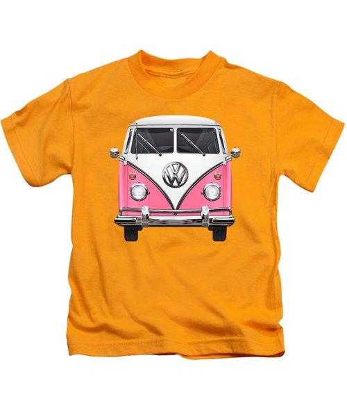 Pink And White Volkswagen T 1 Samba Bus On Yellow Kids T-Shirt by Serge Averbukh