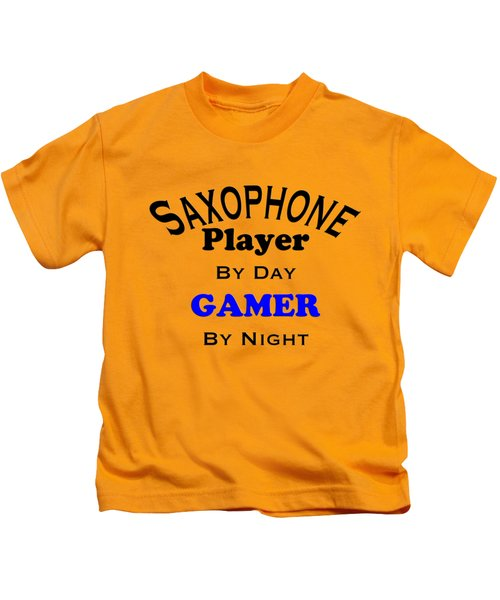 Saxophone Player By Day Gamer By Night 5622.02 Kids T-Shirt by M K  Miller
