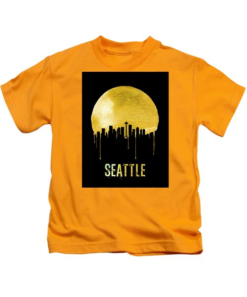 Seattle Skyline Yellow Kids T-Shirt by Naxart Studio