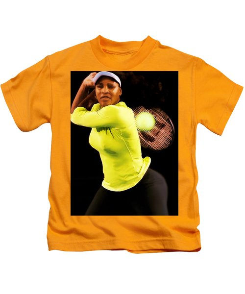 Serena Williams Bamm Kids T-Shirt by Brian Reaves
