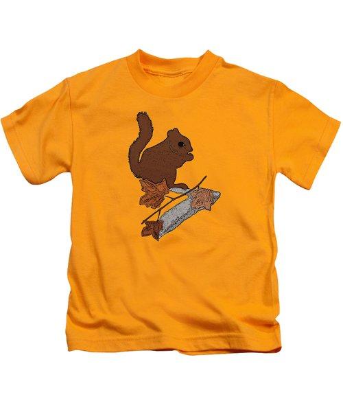 Squirrel Kids T-Shirt by Priscilla Wolfe