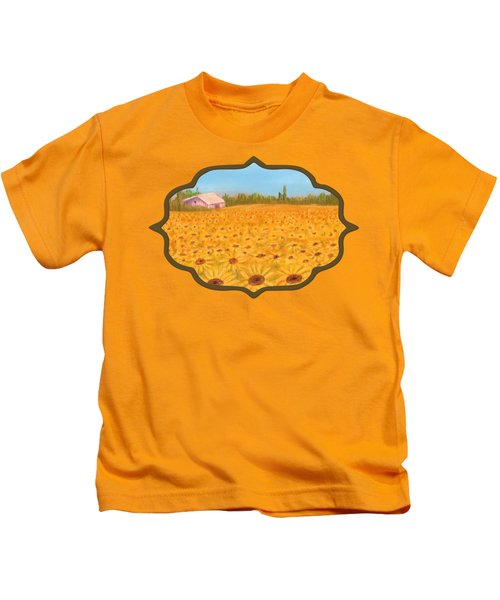 Sunflower Field Kids T-Shirt by Anastasiya Malakhova