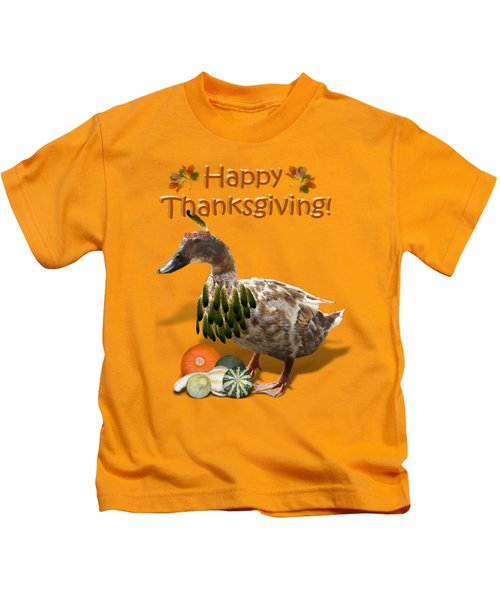 Thanksgiving Indian Duck Kids T-Shirt by Gravityx9 Designs