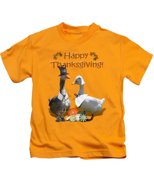 Thanksgiving Pilgrim Ducks Kids T-Shirt by Gravityx9 Designs